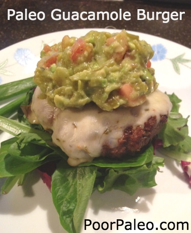 Spicy Guacamole Burger on Field Greens - The Paleo Gypsy